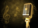 Microphone golden background